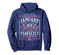 Legends Were Born In January 1970 50th Birthday Gift T-shirt Hoodie Navy