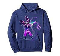 Hummingbird Purple Ribbon Pancreatic Cancer Awareness Shirts Hoodie Navy