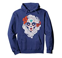 Sugar Skull Dia De Los Muertos Halloween Horror Premium T-shirt Hoodie Navy
