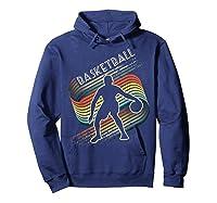 Vintage Retro Basketball Shirt Colorful Tshirt Hoodie Navy