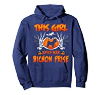 This Girl Loves Her Bichon Frise Dog Halloween Costume Shirts Hoodie Navy