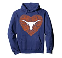 Texas Longhorns Heart Roses Apparel Shirts Hoodie Navy