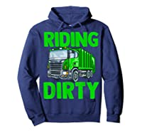 Recycling Trash Garbage Truck Riding Dirty Shirts Hoodie Navy