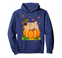 Thanksgiving Day Pug Dog Costume Pumpkin Gifts T-shirt Hoodie Navy