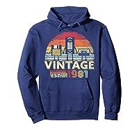 1981 Shirt. Vintage Birthday Gift, Funny Music, Tech Humor T-shirt Hoodie Navy