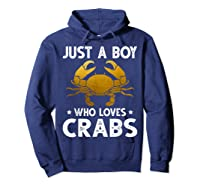 Just A Boy Who Loves Crabs Cute Animals Lovers Shirts Hoodie Navy