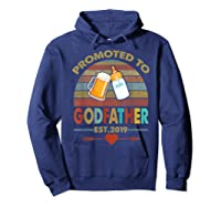 Promoted To Godfather Est 2019 Vintage Arrow Shirts Hoodie Navy