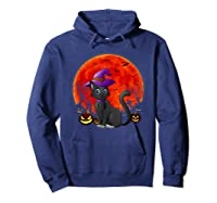 Vintage Scary Halloween Black Cat Costume Witch Hat & Moon T-shirt Hoodie Navy