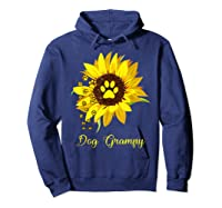 Dog Grampy Sunflower Gift Love Dogs And Flowers T-shirt Hoodie Navy