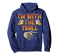 I'm With The Troll Costume Funny Halloween Couple Shirts Hoodie Navy