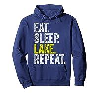 Eat Sleep Lake Repeat Summer Boating Vacation Boat Premium T-shirt Hoodie Navy