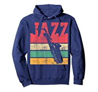 Saxophone Baritone Jazz Music Retro Vintage Gift T-shirt Hoodie Navy