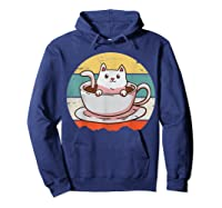 Coffee Cats Retro Vintage Gift T-shirt Hoodie Navy