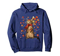 Cat Leaf Fall Hello Autumn Weather Shirts Hoodie Navy
