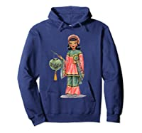 Vintage Traditional National Chinese Costume Doll Shirts Hoodie Navy