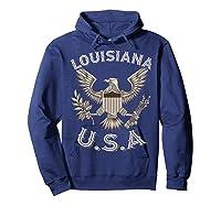 Louisiana Usa Patrio Eagle Vintage Distressed Shirts Hoodie Navy