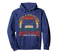 Retro 6th Birthday Gamer Level 6 Unlocked Awesome Since 2014 T-shirt Hoodie Navy