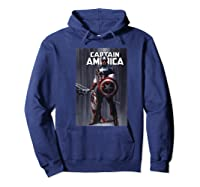 Marvel Captain America Flag Comic Cover Premium T-shirt Hoodie Navy