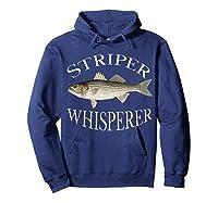 Striper Whisperer Striped Bass Fish Illustration Fishing T-shirt Hoodie Navy