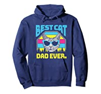 S Best Cat Dad Ever Cat Daddy Gift Premium T-shirt Hoodie Navy