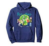 Rick & Morty Family Group Portal With Logo T-shirt Hoodie Navy
