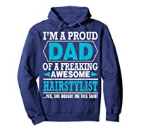 S Proud Dad Awesome Hairstylist Gift T-shirt Hoodie Navy
