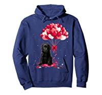 Black Labrador Love Balloons Valentine Day Shirts Hoodie Navy