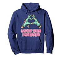 Love You Forever Zombie Heart T-shirt Hoodie Navy