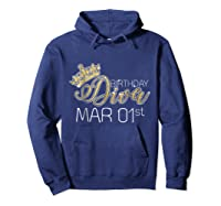 Birthday Diva On March 1st Pisces Pride Shirts Hoodie Navy