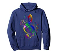 Treble Clef With Music Notes Shirts Hoodie Navy