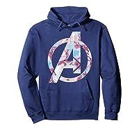 Avengers Logo Floral Super Hero Shirts Hoodie Navy
