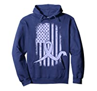 American Flag Stomach Cancer Awareness Ribbon T-shirt Hoodie Navy