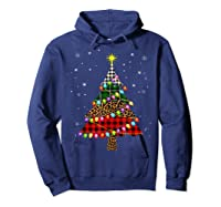 Christmas Tree Leopard Print Buffalo Plaid Merry Xmas Gift Shirts Hoodie Navy