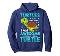 Turtles Are Awesome I'm Awesome I'm A Sea Turtle Beach Shirts Hoodie Navy