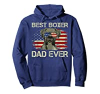 Best Boxer Dad Ever Dog Lover American Flag Gift Shirts Hoodie Navy