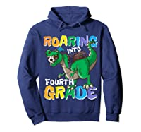 Roaring Into Fourth Grade 4 Dinosaur Back To School Soccer Shirts Hoodie Navy