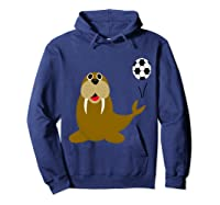 Southerndesigns Funny Walrus Playing Soccer Shirts Hoodie Navy