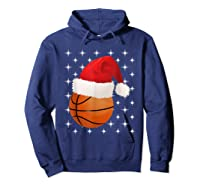 Christmas Stars Basketball Ball Santa Hat Funny Sports Xmas T-shirt Hoodie Navy
