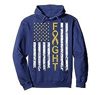 Childhood Cancer Awareness T-shirt American Flag Distresse T-shirt Hoodie Navy