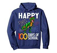 100 Days Of School Dinosaur T Rex Pencil Backpack Gift Shirts Hoodie Navy