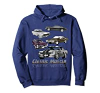 Classic American Muscle Cars Vintage Gift Shirts Hoodie Navy