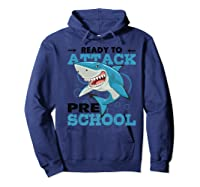 Ready To Attack Preschool Funny Shark Back To School T Shirts Hoodie Navy