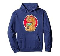 Lucky Cat Charm Winkekatze Maneki Neko Japanese Out Premium T-shirt Hoodie Navy