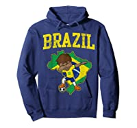 Brazil Soccer Boy Brazilian Football Dabbing Shirts Hoodie Navy