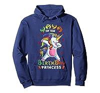Yaya Of The Birthday Princess Unicorn Girl T-shirt Hoodie Navy