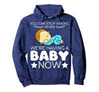 Baby Family Pregnant Mother Daughter Son Design Having Baby Shirts Hoodie Navy