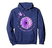 Hummingbird Sunflower Purple Ribbon Alzheimer's Awareness Shirts Hoodie Navy