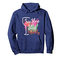 Paint And Sip Art Night Party Wine Canvas Wild Fun Shirts Hoodie Navy