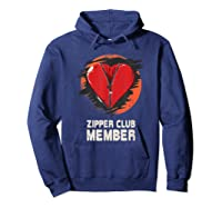 Open Heart Surgery Shirt Survivor Post Attack Recovery Gift Hoodie Navy