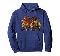 Peace Love Halloween Leopard Print Pumpkin Custom Gift Premium T-shirt Hoodie Navy